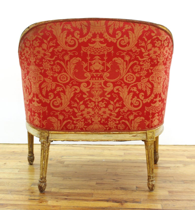 19th Century Louis XVI Style Giltwood Fauteuil with Damask Upholstery For Sale