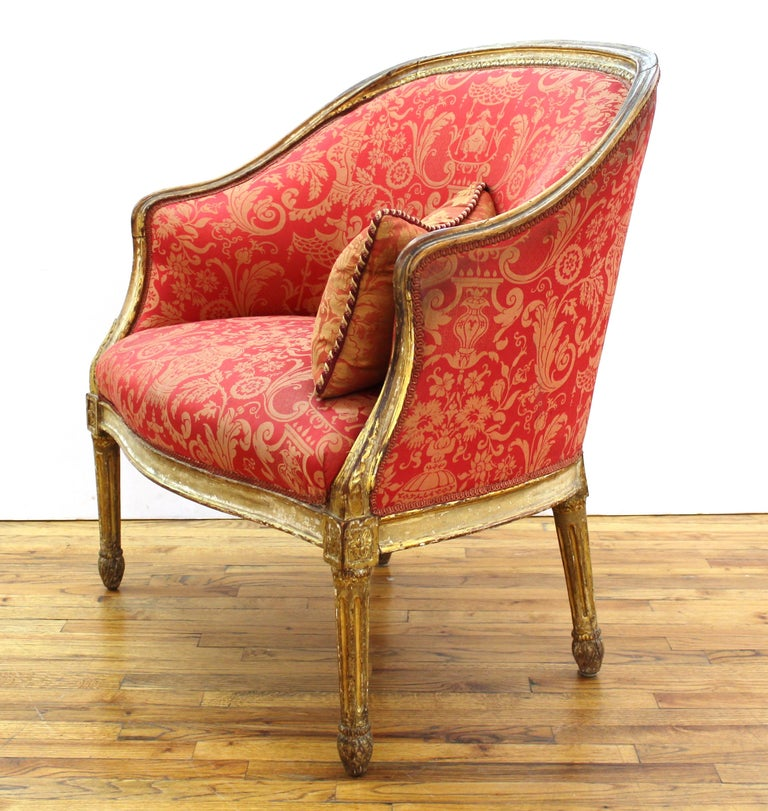 Louis XVI Style Giltwood Fauteuil with Damask Upholstery For Sale 1
