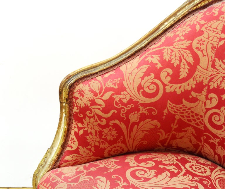 Louis XVI Style Giltwood Fauteuil with Damask Upholstery For Sale 2