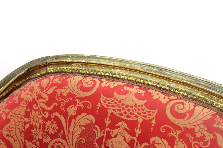 Louis XVI Style Giltwood Fauteuil with Damask Upholstery For Sale 3