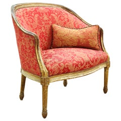 Louis XVI Style Giltwood Fauteuil with Damask Upholstery