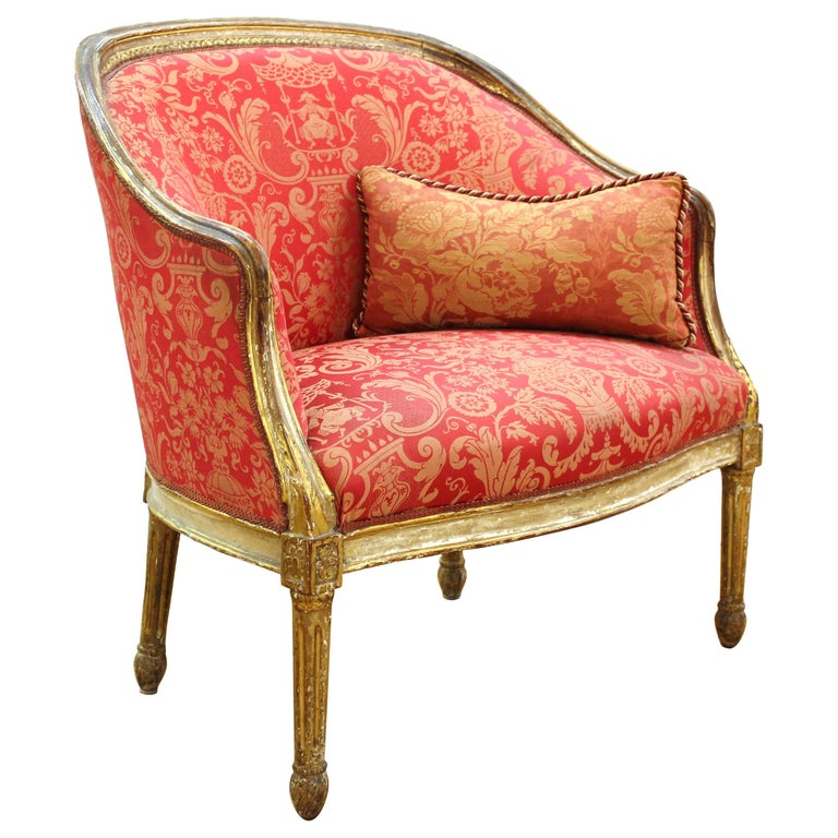 Louis XVI Style Giltwood Fauteuil with Damask Upholstery For Sale