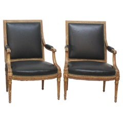Louis XVI-Style Giltwood Fauteuils / Armchairs