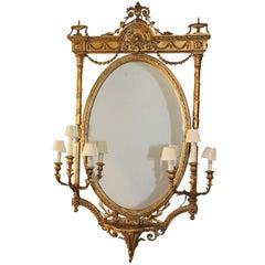 Louis XVI Style Giltwood Girandole Mirror