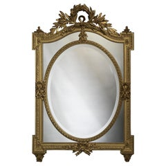 Louis XVI Style Giltwood Marginal Frame Mirror with Bevelled Plates, circa 1890