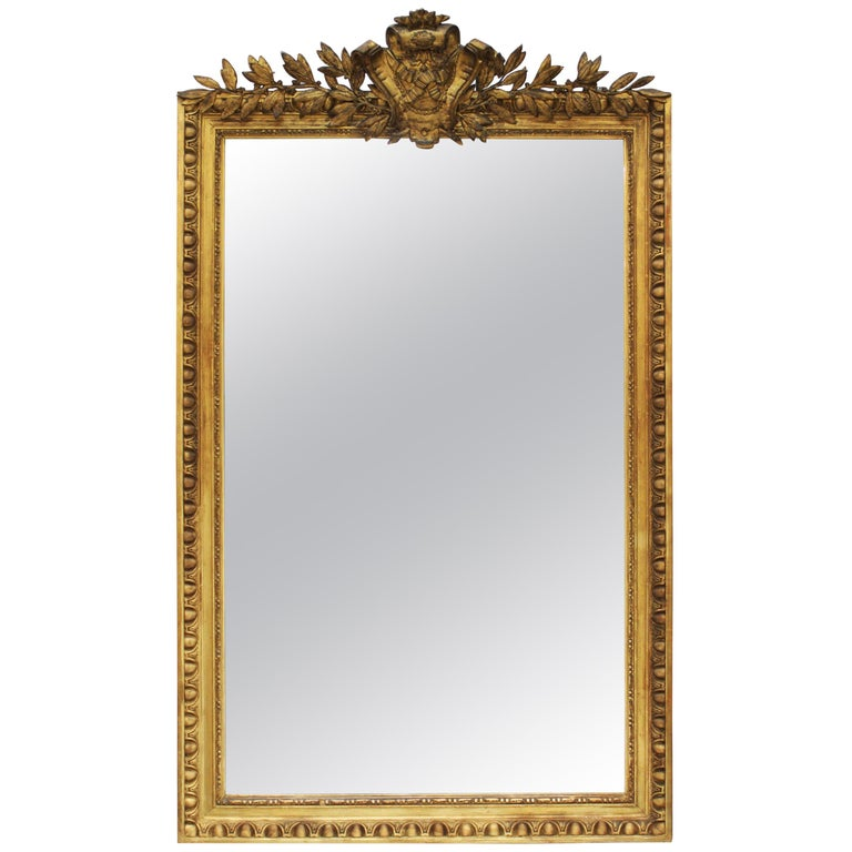 Louis XVI Style Giltwood Wall Mirror For Sale
