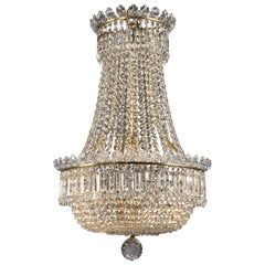 Louis XVI Style Glass Tent and Bag Chandelier by Baccarat, circa 1900