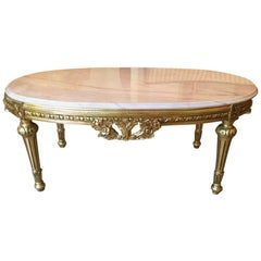 Louis XVI Style Gold Gilt Marble Top Coffee Table