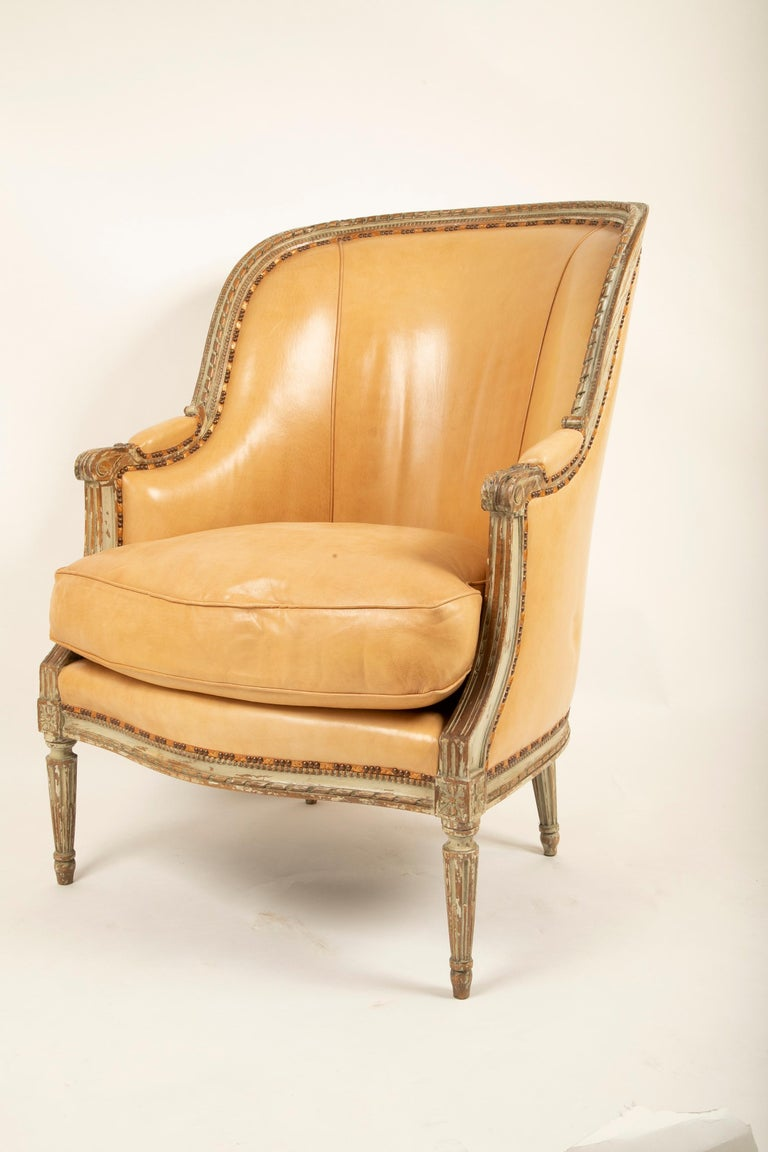 French Louis XVI Style Grey Painted Armchair Upholstered in Leather Sold Individually For Sale