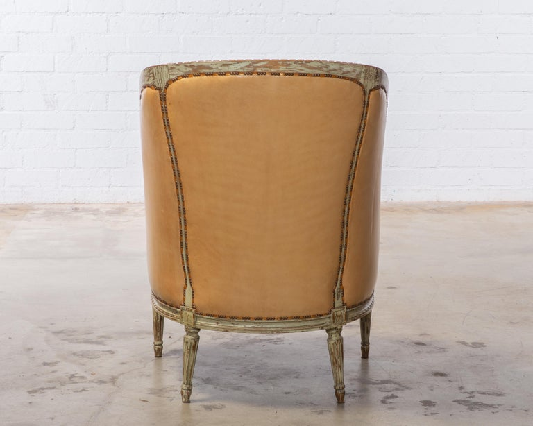 Louis XVI Style Grey Painted Armchair Upholstered in Leather Sold Individually For Sale 1