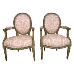 Louis XVI Style Grey Painted Armchairs in Pink and White Ikat