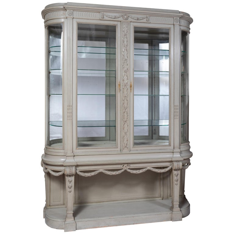 Louis XVI Style Gris Trianon 'Trianon Gray' Vitrine / Cabinet by François Linke For Sale