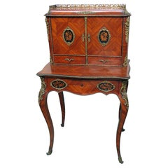 Antique C1870s French Louis XVI Style Inlaid King Wood Ladies Writing Desk