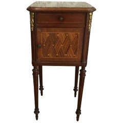 Louis XVI Style Inlay Nightstand with Marble Top
