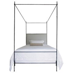 Louis XVI Style Iron Upholstered Canopy Bed, King