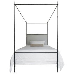 Queen Iron Louis XVI Style Upholstered Canopy Bed