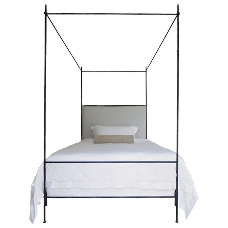 - Twin Louis XVI Style Iron Upholstered Canopy Bed For Sale At 1stdibs