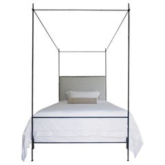 Twin Louis XVI Style Iron Upholstered Canopy Bed