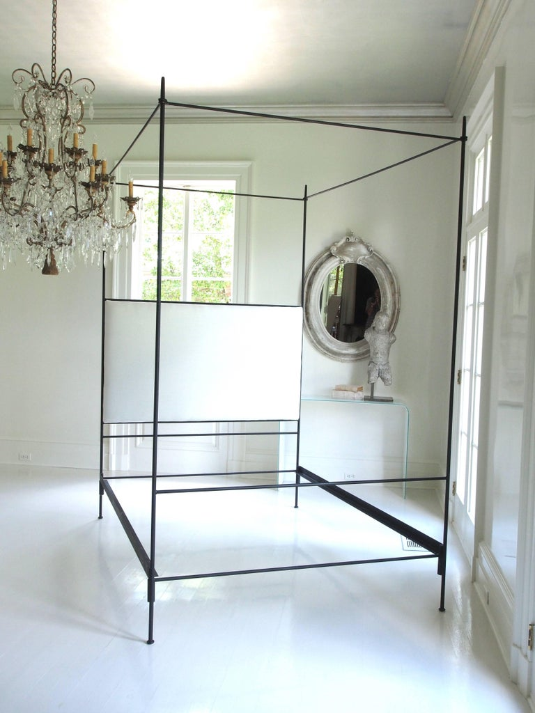American Louis XVI Iron Canopy Bed with Linen Headboard, King For Sale