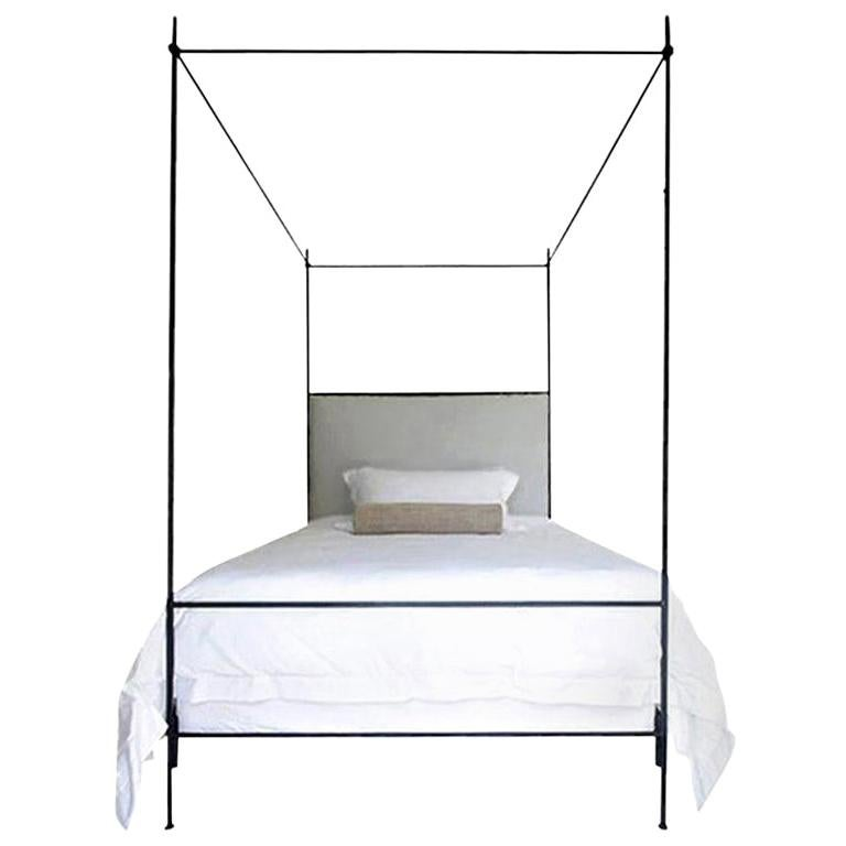 Louis XVI Iron Canopy Bed with Linen Headboard, King For Sale