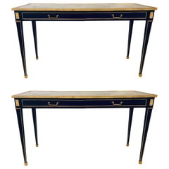 Louis XVI Style Jansen Style Mirrored Top Console Sofa Tables, a Pair
