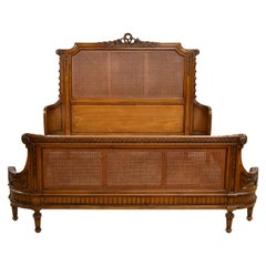 Louis XVI Style King Size Bed with Walnut-Colored Wood Frame and Woven Caning