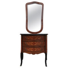 Louis XVI Style Kingwood and Marquetry Commode with Mirror