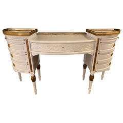 Louis XVI Style Ladies Vanity / Writing Desk in Dove Gray Lacquer