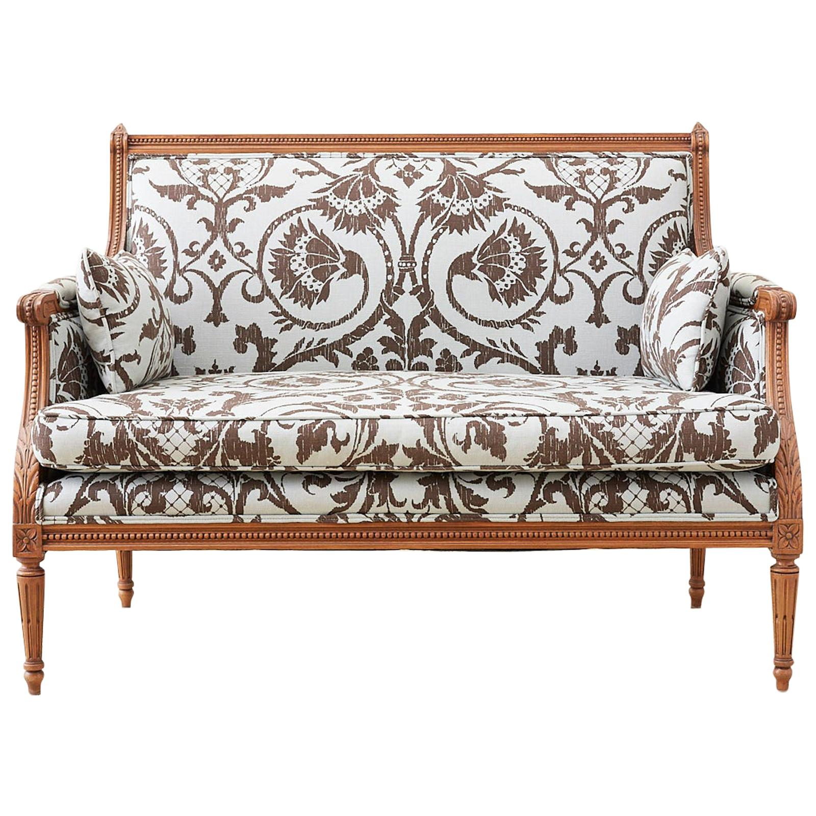 Louis XVI Style Linen Upholstered Settee or Canape