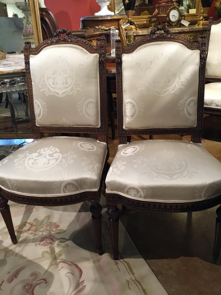 Louis XVI Style Living Room Suite 19th Century Sofa Pair of Chairs, and 2 Sides For Sale 4