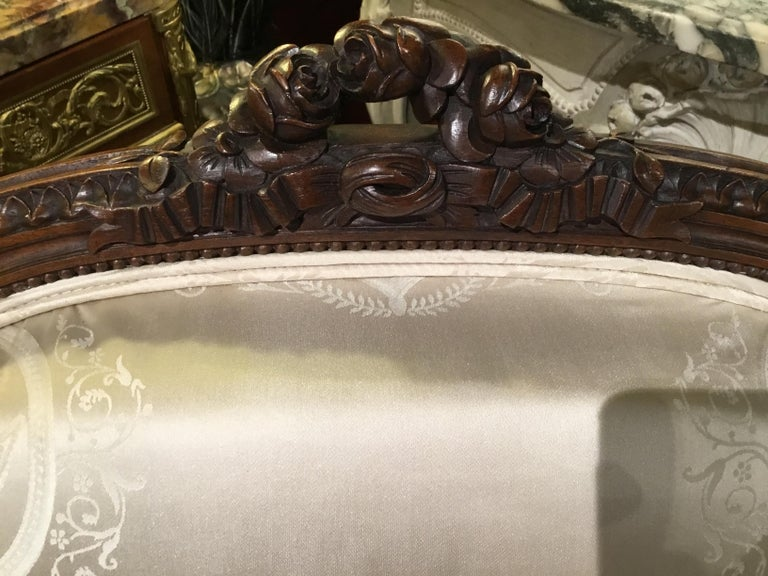 Louis XVI Style Living Room Suite 19th Century Sofa Pair of Chairs, and 2 Sides For Sale 5