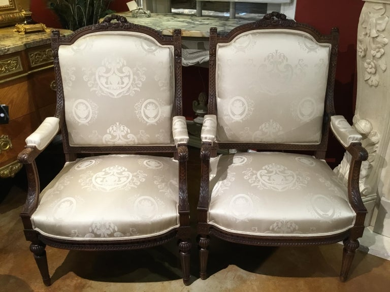 Hand-Carved Louis XVI Style Living Room Suite 19th Century Sofa Pair of Chairs, and 2 Sides For Sale