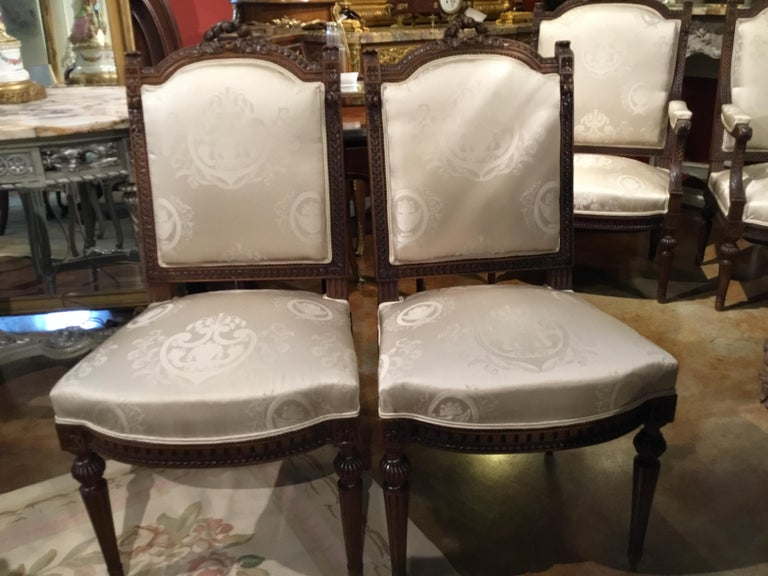 Louis XVI Style Living Room Suite 19th Century Sofa Pair of Chairs, and 2 Sides For Sale 3