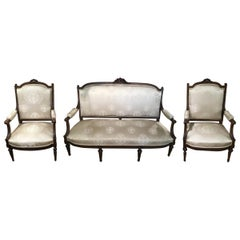 Louis XVI Style Living Room Suite 19th Century Sofa Pair of Chairs, and 2 Sides