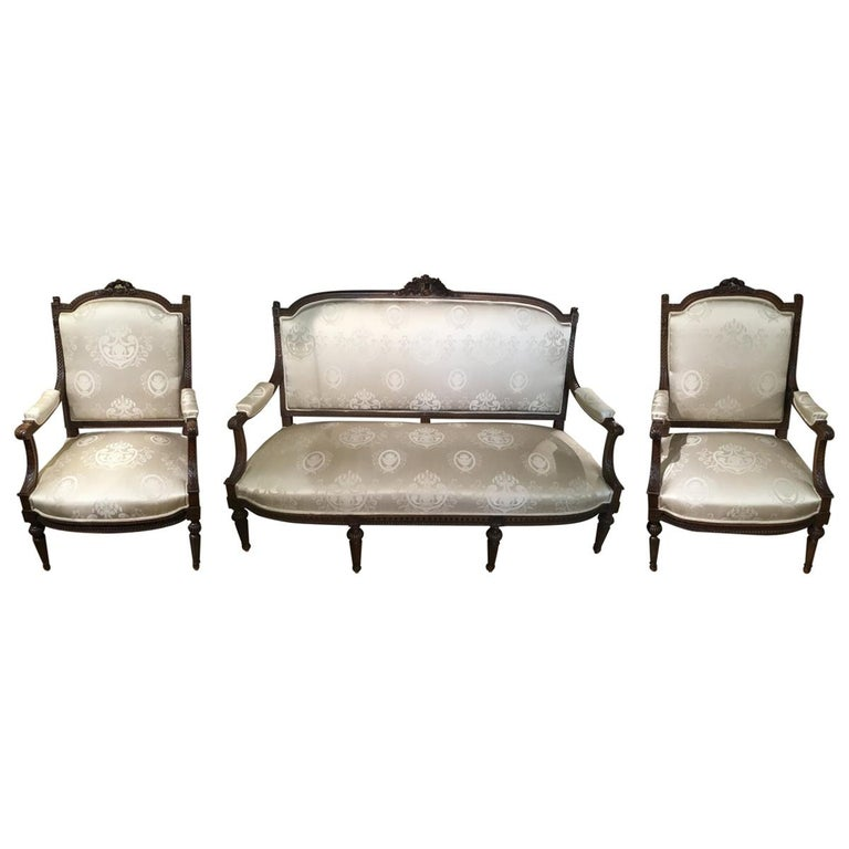 Louis XVI Style Living Room Suite 19th Century Sofa Pair of Chairs, and 2 Sides For Sale
