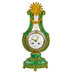 Louis XVI Style Lyre Clock in Malachite