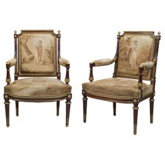 Louis XVI Style Mahogany and Aubusson Tapestry Armchairs. French, circa 1880