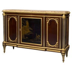Louis XVI Style Mahogany and Lacquer Commode À Vantaux by Heubès, French