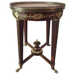 Louis XVI Style Mahogany and Marble Oval Centre or Side Table