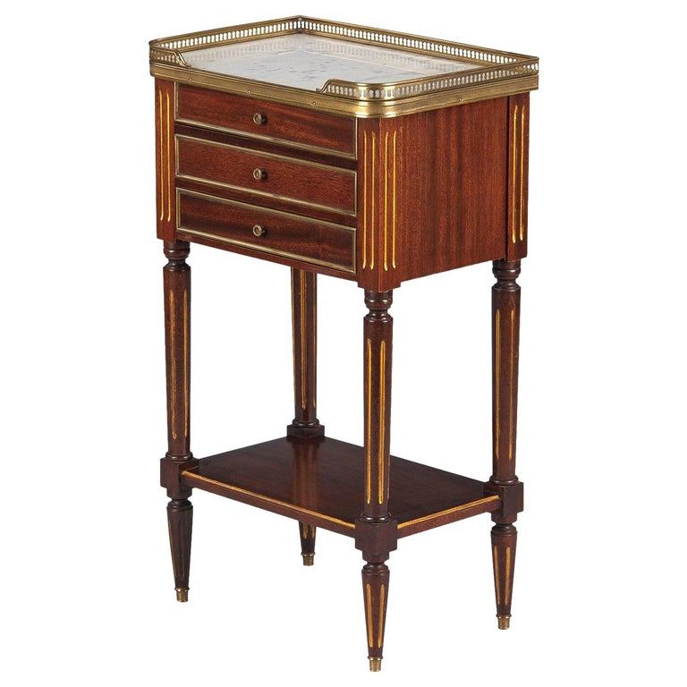 Louis XVI Style Mahogany and Marble-Top Bedside Cabinet, 1920s For Sale