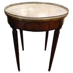 Louis XVI Style Mahogany and Marble Top Bouillotte Table, 19th Century