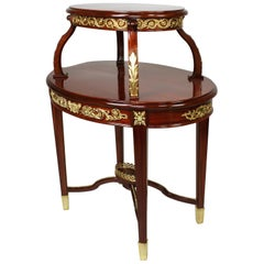 Louis XVI Style Mahogany and Ormolu Mounted 2-Tier Dessert Table by P. E. Guerin