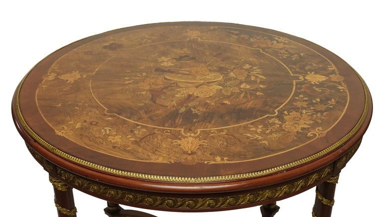 Louis XVI Style Mahogany Center Table with Floral Parquetry Inlay, circa 1890 For Sale 6