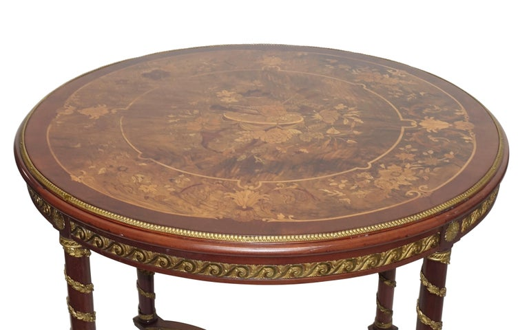 Louis XVI Style Mahogany Center Table with Floral Parquetry Inlay, circa 1890 In Good Condition For Sale In San Francisco, CA