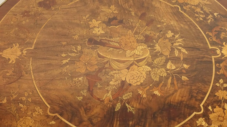 19th Century Louis XVI Style Mahogany Center Table with Floral Parquetry Inlay, circa 1890 For Sale