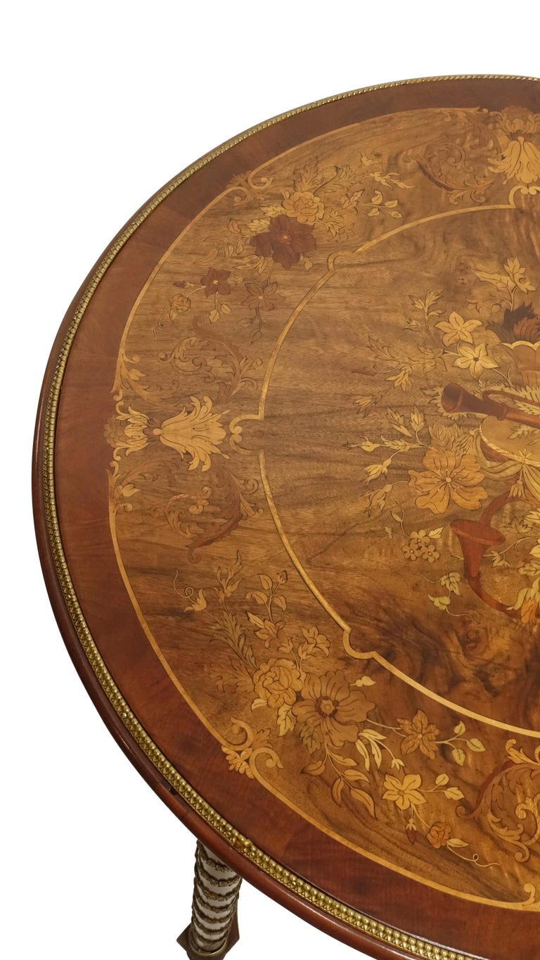 Louis XVI Style Mahogany Center Table with Floral Parquetry Inlay, circa 1890 For Sale 1