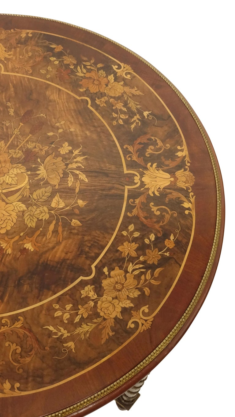 Louis XVI Style Mahogany Center Table with Floral Parquetry Inlay, circa 1890 For Sale 2