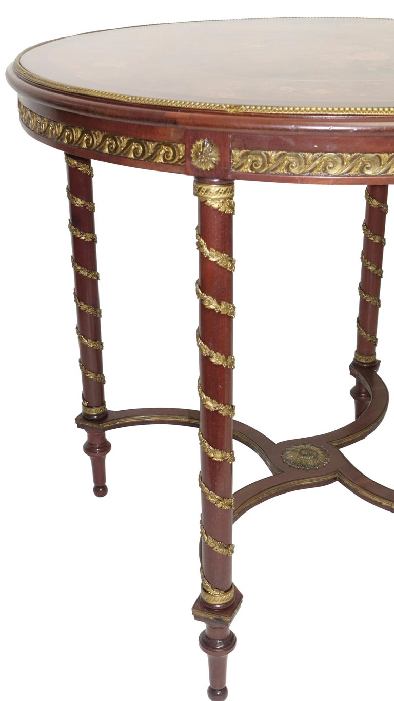 Louis XVI Style Mahogany Center Table with Floral Parquetry Inlay, circa 1890 For Sale 3