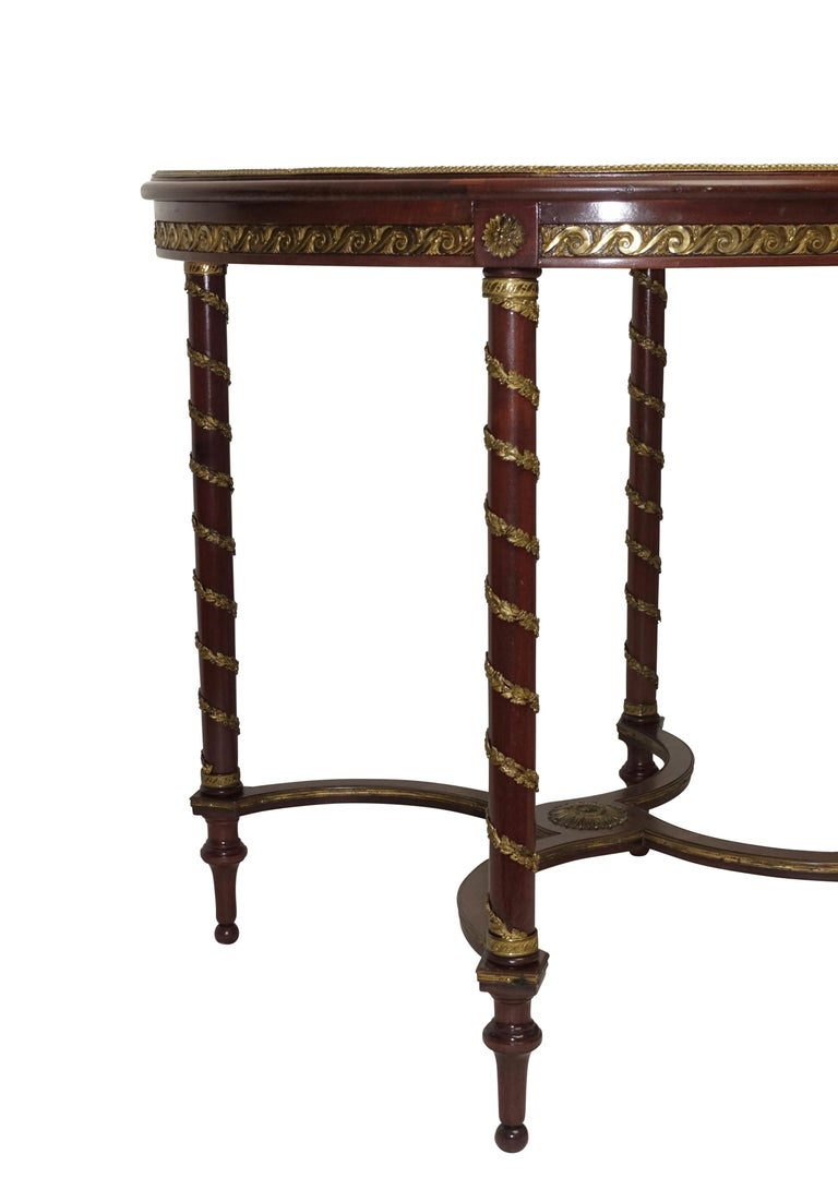 Louis XVI Style Mahogany Center Table with Floral Parquetry Inlay, circa 1890 For Sale 4