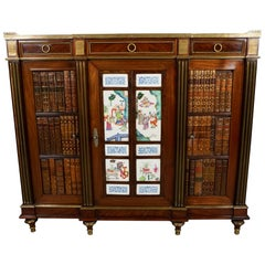 Louis XVI Style Mahogany Porcelain Inset Cabinet with Marble Top